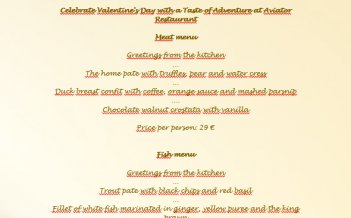 Celebrate Valentine's Day with a Taste of Adventure at Aviator Restaurant